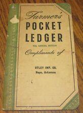 1956-1957 John Deere Farmers Pocket Ledger UTLEY IMPLEMENT CO HOPE ARKANSAS 90th