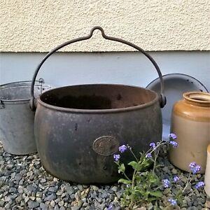 Antique Kenrick Cast Pot Planter 8 Gallon Hanging Gypsy Romany Rustic Garden