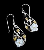 Sterling Silver Mother of Pearl Flower drop Earrings - Hallmarked Ari D Norman