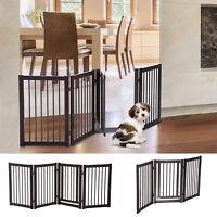 "30"" Panel Wooden Folding Indoor Pet Dog Gate Freestanding Safety Fence w/ Door"