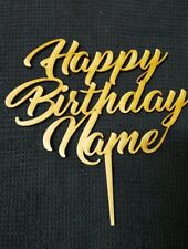 Laser Cut Wooden Cake Topper - Personalised Happy Birthday (F)