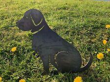 More details for labrador sitting rusty dog metal garden art