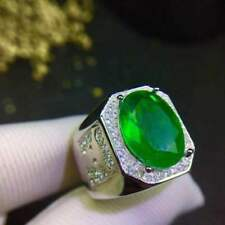 Certified Natural Colombian Emerald Ring S925 Sterling Silver Men Engagemen Gift