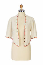 Anthropologie KNITTED KNOTTED S Sweater ESTELLE Crop Shrug Alpaca Embroidery NWT