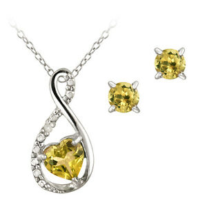 925 Silver 1.15ct Citrine & Diamond Accent Swirl Heart Necklace and Earrings Set