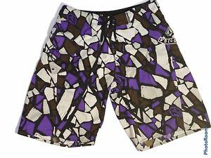 Men's Volcom Mod Tech Boardshorts Swim Trunks 36 Purple,White,Brown Camo A081826