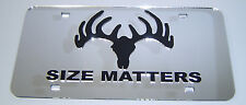 antlers size matters hunting acrylic license plate chrome laser cut mirror rifle