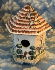 PRETTY WOOD HAND PAINTED HEXAGON BIRDHOUSE