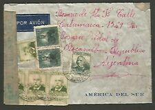 Spain To Argentina Airmail Censor Cover 1938 Multi Franking 24 Stamps