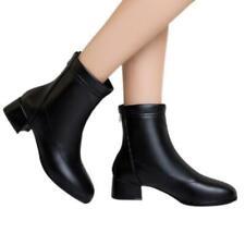 Women's Low Heel Ankle Boots Office OL Round Toe Zipper Casual Western Booties D