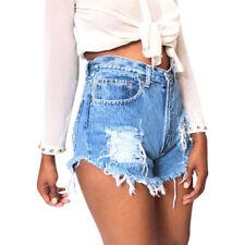 Damen Jeans Shorts High Waist Hot Pants Destroyed Sommer Stretch Denim Hose