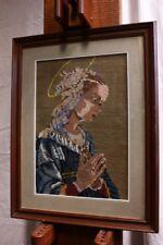 Quadro a mezzopunto raffigurante Madonna con cornice e vetro 45 x 58 embroidery