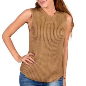 Women Warm Thick Ribbed Knitted Camel Wool Sleeveless Sweater Vest