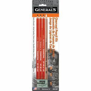General's Pencil Charcoal Pencil Kit 4 Pencils Eraser Black & White General