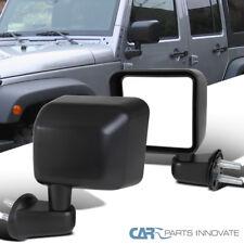 Jeep 07-18 Wrangler JK Black Manual Side Door View Mirrors Brackets Left+Right