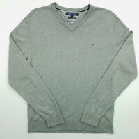 Tommy Hilfiger Mens  Pullover MEDIUM  Grey Cotton Sweater Jumper Knit Collared