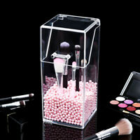 Cosmetic Brush Storage Box Bucket Makeup Pens Organizer Holder Barrel with Cover