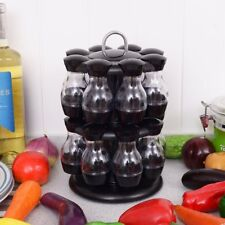 16 Jar Rotating Spice Rack Carousel Kitchen Storage Holder Condiments Container