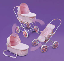 Badger Basket Pink Gingham 3-in-1 Doll Pram- Carrier- and Stroller 00562