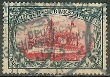 1906 German South West Africa 5 Mark Yacht used Michel # 32 Aa -OKAHANDJA, € 370