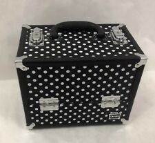 CABOODLES Make Up Train Case Black & White Polka Dot Vanity Organizer