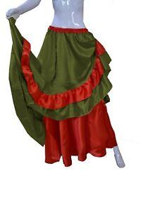 Half Circle Black Frill Skirt Olive Green Belly Dance Women Reversible Skirt S71