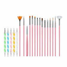 20pc Nail Art Brush Design Painting Drawing Dotting Detailing Pens Tool Set UK