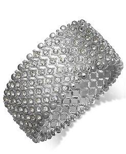 Macy's Charter Club Silver-Tone Clear Crystal Stretch Bracelet