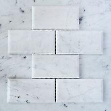 Carrara Marble Subway Bevelled Mosaic Tiles (Sheet)