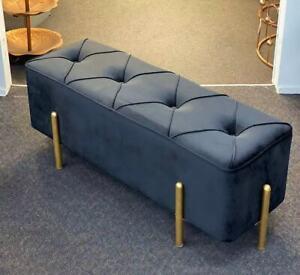 Premium Bed End Bench- Black Velvet Ottoman - Gold Metal Legs 107'cm