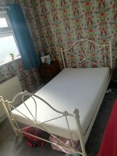 Next 4ft small double bed with memory foam mattress Cream Metal Frame
