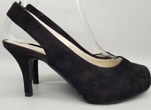 Ladies Clarks Black Soft Suede Stiletto Sling back shoes size 4D