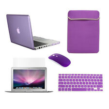 "5 in 1 PURPLE Crystal Case fr Macbook Pro 13"" A1425 Retina+Key +LCD+BAG+MOUSE"