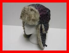 Unisex Faux Fur Lined Trapper Hat Cap Multi Print Black Purple Warm Winter