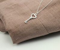 Triple Silver Plated  Necklace with Heart's Key Pendant in a Gift Box