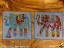BEAUTIFUL PAIR OF HANDMADE INDIAN PATCH EMROIDERY ELEPHANT CUSHION COVER RRP $30
