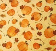 Harvest Greetings Bty Angela Anderson Quilting Treasures Pumpkins Buttercream