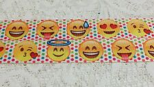 "Emoji Printed Colourful 7/8"" Grosgrain Ribbon 1 yard Hair Cake Card Sewing Craft"