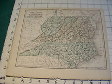 Vintage Original 1866 Mitchell Map: MARYLAND, VA, WV, NC map # 11 aprox 10 X 12""