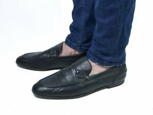 GUCCI men's black leather slip on loafers | Size 10.5/US 11.5 (29.8 cm/11.7 in)