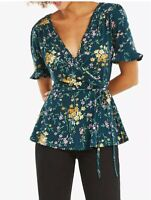 OASIS Dark Green Floral Peplum Top Size M Stretchy