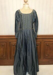 Museum Replicas Limited Renaissance Medieval Costume Dress Gown Gray Blue L Sz