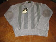 NWT Glenhusky Of Scotland Sweater Pure Shetland Wool Elbow/Shoulder Patch L $300