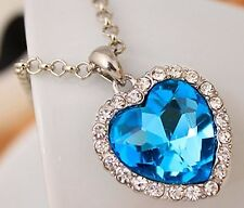 "Titanic Heart Of Ocean Pendant & 20-22"" chain necklace Silver Colour Sky Blue"