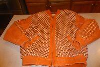 Saxony Woven Leather Jacket Coat sz 42