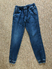 Men's Denim Joggers Trousers Size M Drawstring Slim Fit Navy Blue From Hollister
