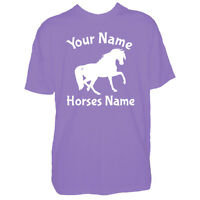 Childrens Custom Horse Tshirt Personalised Horses Pony Name Kid Boy Girl T Shirt