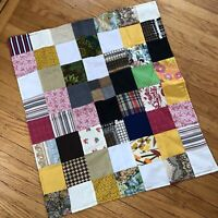Vintage Patchwork Quilt Table Topper Doll Crib Quilt Mixed Prints CRAZY Retro