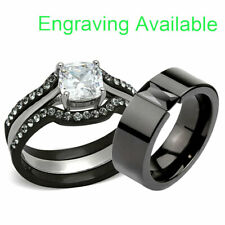 Aaa Cz Wedding Engagement Ring Set bj His & Hers 4 Piece Black Stainless Steel