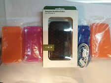 IPHONE 4,4S GENUINE KNOMO LEATHER CASE + 4 FREE SILICONE CASES AND FREE CABLE